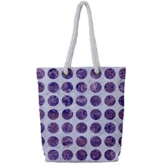 Circles1 White Marble & Purple Marble (r) Full Print Rope Handle Tote (small)