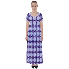 Circles1 White Marble & Purple Marble High Waist Short Sleeve Maxi Dress