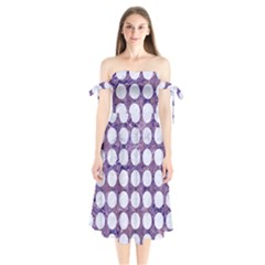 Circles1 White Marble & Purple Marble Shoulder Tie Bardot Midi Dress