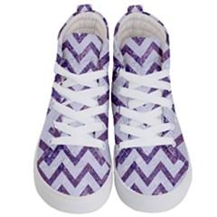 Chevron9 White Marble & Purple Marble (r) Kid s Hi Top Skate Sneakers
