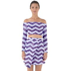 Chevron3 White Marble & Purple Marble Off Shoulder Top With Skirt Set