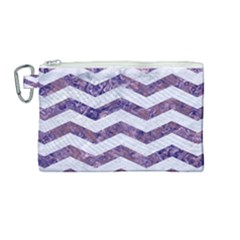 Chevron3 White Marble & Purple Marble Canvas Cosmetic Bag (medium)
