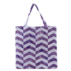 Chevron2 White Marble & Purple Marble Grocery Tote Bag by trendistuff