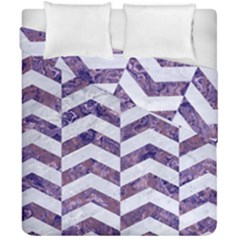 Chevron2 White Marble & Purple Marble Duvet Cover Double Side (california King Size) by trendistuff