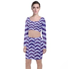 Chevron2 White Marble & Purple Marble Long Sleeve Crop Top & Bodycon Skirt Set