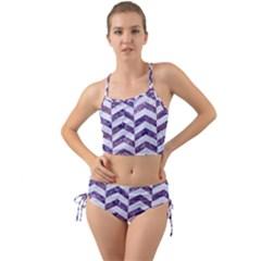 Chevron2 White Marble & Purple Marble Mini Tank Bikini Set