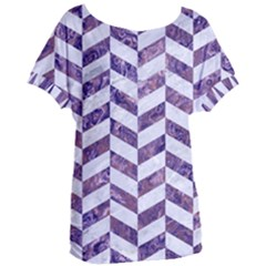 Chevron1 White Marble & Purple Marble Women s Oversized Tee