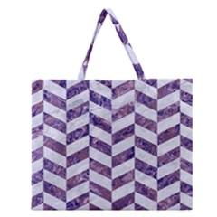 Chevron1 White Marble & Purple Marble Zipper Large Tote Bag by trendistuff
