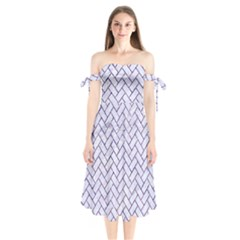 Brick2 White Marble & Purple Marble (r) Shoulder Tie Bardot Midi Dress