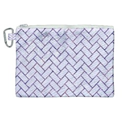 Brick2 White Marble & Purple Marble (r) Canvas Cosmetic Bag (xl) by trendistuff