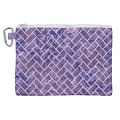 Brick2 White Marble & Purple Marble Canvas Cosmetic Bag (xl) by trendistuff