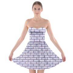 Brick1 White Marble & Purple Marble (r) Strapless Bra Top Dress by trendistuff