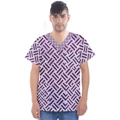 Woven2 White Marble & Purple Leather (r) Men s V Neck Scrub Top