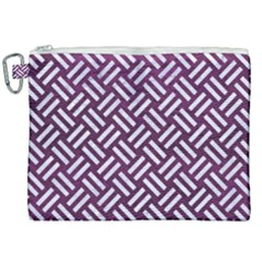 Woven2 White Marble & Purple Leather Canvas Cosmetic Bag (xxl) by trendistuff