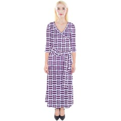 Woven1 White Marble & Purple Leather (r) Quarter Sleeve Wrap Maxi Dress