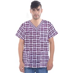 Woven1 White Marble & Purple Leather (r) Men s V Neck Scrub Top