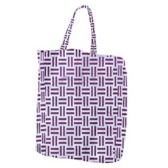 Woven1 White Marble & Purple Leather (r) Giant Grocery Zipper Tote