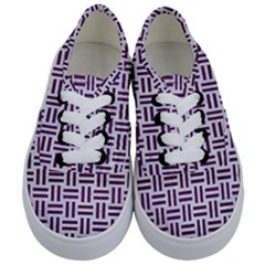 Woven1 White Marble & Purple Leather (r) Kids  Classic Low Top Sneakers
