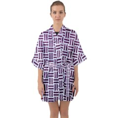 Woven1 White Marble & Purple Leather (r) Quarter Sleeve Kimono Robe