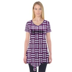 Woven1 White Marble & Purple Leather Short Sleeve Tunic  by trendistuff