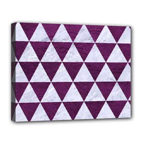 Triangle3 White Marble & Purple Leather Canvas 14  X 11  by trendistuff