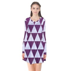 Triangle3 White Marble & Purple Leather Flare Dress by trendistuff
