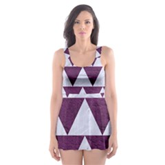 Triangle2 White Marble & Purple Leather Skater Dress Swimsuit by trendistuff