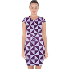 Triangle1 White Marble & Purple Leather Capsleeve Drawstring Dress
