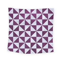 Triangle1 White Marble & Purple Leather Square Tapestry (small) by trendistuff