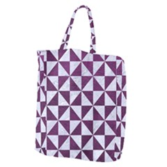 Triangle1 White Marble & Purple Leather Giant Grocery Zipper Tote