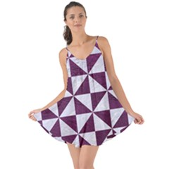 Triangle1 White Marble & Purple Leather Love The Sun Cover Up