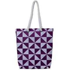 Triangle1 White Marble & Purple Leather Full Print Rope Handle Tote (small)