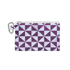 Triangle1 White Marble & Purple Leather Canvas Cosmetic Bag (small)