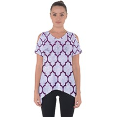 Tile1 White Marble & Purple Leather (r) Cut Out Side Drop Tee