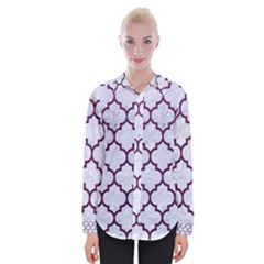 Tile1 White Marble & Purple Leather (r) Womens Long Sleeve Shirt
