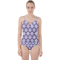 Tile1 White Marble & Purple Leather (r) Cut Out Top Tankini Set