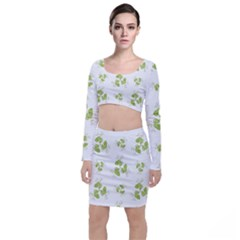 Photographic Floral Decorative Pattern Long Sleeve Crop Top & Bodycon Skirt Set