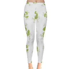 Photographic Floral Decorative Pattern Inside Out Leggings