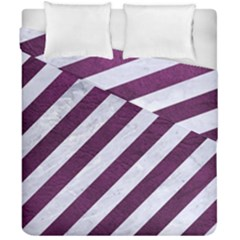Stripes3 White Marble & Purple Leather (r) Duvet Cover Double Side (california King Size) by trendistuff