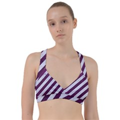 Stripes3 White Marble & Purple Leather (r) Sweetheart Sports Bra