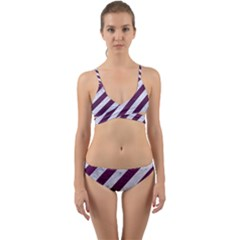Stripes3 White Marble & Purple Leather (r) Wrap Around Bikini Set