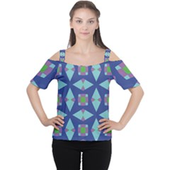 Blue Green Purple Lilac Geometric 59 Cutout Shoulder Tee by CircusValleyMall