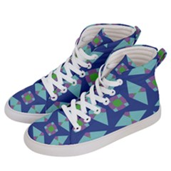 Blue Green Purple Lilac Geometric 59 Women s Hi Top Skate Sneakers by CircusValleyMall