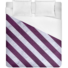 Stripes3 White Marble & Purple Leather Duvet Cover (california King Size)