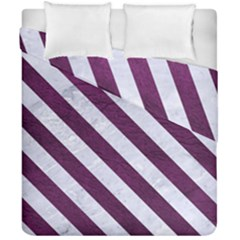 Stripes3 White Marble & Purple Leather Duvet Cover Double Side (california King Size) by trendistuff