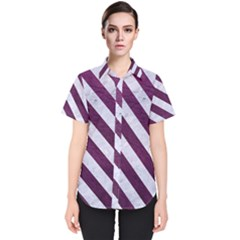 Stripes3 White Marble & Purple Leather Women s Short Sleeve Shirt