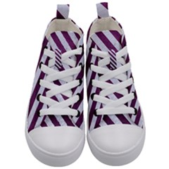 Stripes3 White Marble & Purple Leather Kid s Mid Top Canvas Sneakers