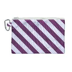 Stripes3 White Marble & Purple Leather Canvas Cosmetic Bag (large)