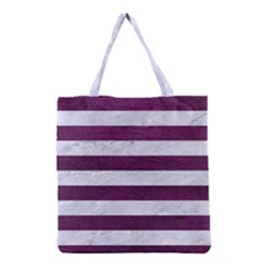 Stripes2white Marble & Purple Leather Grocery Tote Bag by trendistuff