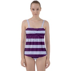 Stripes2white Marble & Purple Leather Twist Front Tankini Set